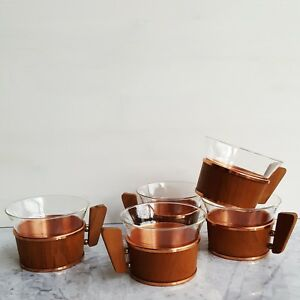 Schott & Gen Jena Glass Tea Cups Teak Brass Copper Holders Bauhaus Wagenfeld MCM