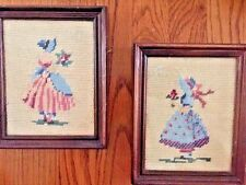 ANTIQUE 19TH CENTURY TAPESTRY NEEDLEPOINT IN PERIOD FRAME Victorian Ladies SET