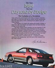 Big 1984 DODGE DAYTONA Sales Brochure / Catalog: TURBO, Z,