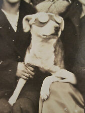 ANTIQUE FUNNY MOTORCYCLE? GOGGLES GLASSES WHITE DOG FUNNY WOMEN BOX CAMERA PHOTO