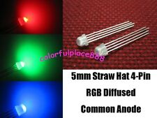 100, 5mm Straw Hat 4-Pin Tri-Color RGB Diffused Common Anode Red Green Blue LED