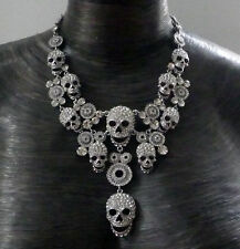Butler and Wilson Clear Crystal 10 Skull Necklace NEW