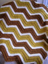 CROCHET chevron handmade afghan blanket baby ripple VANNA MUSTARD yellow ric rac