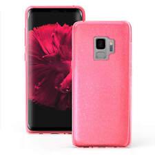hülle für Samsung Galaxy S9 Case Silikon Schutzhülle Cover Glitzer Pink