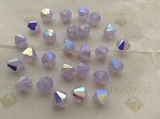 36 Swarovski #5301 8mm Crystal Violet Opal AB Faceted Bicone Beads
