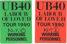UB40 1990 Labour Of Love II Tour Pass Set (2) Reggae