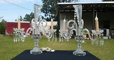 Matched Pair of Vintage Crystal Glass and Prism Lamps  Prism Chandalier RARE AND