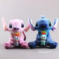2x Lilo and Stitch Plush Stitch & Angel Plushies Toy Stuffed Animal Doll 10''