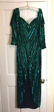 Vintage Bob Mackie Boutique Green Beaded Sequin Evening dress Gown Showstopper!