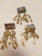 "Goldtone Cowboy Stuff Dangle Earrings Pierced-Lot of 3 all different 4"" drop"