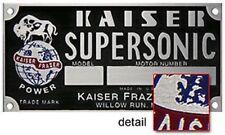 Kaiser Frazer Supersonic Engine COLOR Data Plate Acid Etched Aluminum