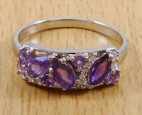 925 Solid Silver Amethyst Stone Women Finger Ring Fashion Jewelry-IJVL-SJR2298