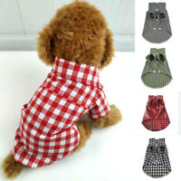 Pet Plaid Tee Shirt Short Sleeve Dog Cat Summer Sweater Coat Jacket Blouse S-2XL