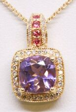 Levian 14K Solid Rose Gold Cushion Amethyst & Pink Sapphire & Diamond Necklace