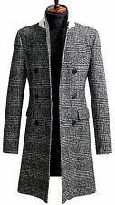 Mens Slim Check Double Breasted Long Coat Blazer Jacket Jumper Outwear B017- S/M