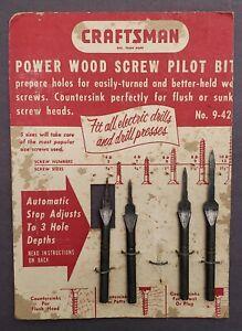 Vintage Sears Roebuck Craftsman 4 Pack Wood Screw Pilot Bit Set No. 9--4203