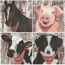 4x Paper Napkins -Farm Mix- for Party, Decoupage Decopatch Craft