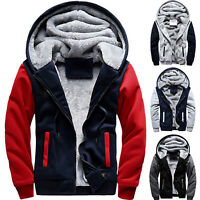 Plus Size Mens Winter Warm Thick Fleece Hooded Hoodie Coat Zip Up Jacket Outwear