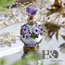 Vintage Purple Chrysanthemum Metal Glass Perfume Bottle Dropper Collectible 25ml