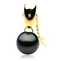 Pacific Pearls® 13mm Tahitian Black Pearl Diamond Gold Pendant Anniversary Gifts