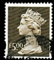 GB SG Y1803-E 1999  £5 Sepia Enschede printing, Flour Yellow/Green.Fine Used.