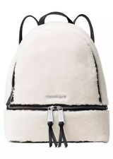 NWT Michael Kors Rhea Zip Medium White And Black Leather Fur Backpack Purse Bag