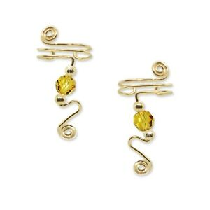 Ear Wraps Cuffs Climbers Earrings Gold with Swarovski Light Topaz Crystals #153