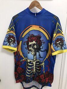 Grateful Dead Ride 7B Skeleton Print Band Music ¾ Zip Cycling Bike Men Jersey 2X
