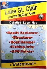 Lake St. Clair Detailed Fishing Map, GPS Pts, Waterproof, Depth Contours #L130