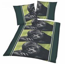 4 teilige Microfaser Bettwäsche 135x200 80x80 Gorilla Africa