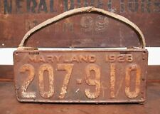 Antique Make Do Handmade Tool Box MARYLAND License Plate 1928 Primitive