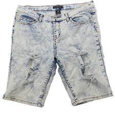 Elite Jeans Stonewashed Distressed Stretch Shorts Junior's Size 13