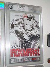 Iron Man #1 1:200 Quesada Sketch variant PGX SS 9.6 Signed Greg Land CGC Avenger