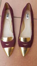RMK JENNA Ladies Maroon Gold Leather Flats Size: 41 EUC