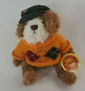"""Brass Button Collectable Plush - """"Augie The Friendship Dog"""" 1997 with Tag"""