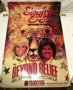 Vtg Frontier Hotel Casino Siegfried & Roy Show POSTER & (2) Program Set (RARE)