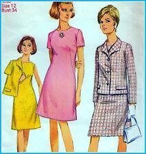 "Vintage 60s Mod DRESS & JACKET Sewing Pattern Bust 34"" 87 cm Sz 10 RETRO Revival"
