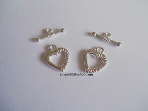 10 sets Silver Plated Metal Heart Toggle Clasps 17mmx 14mm
