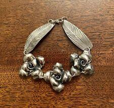 925 Sterling Silver Rose Flower Leaf Artisan Bracelet 24.06 grams