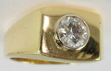 Gents 18k Yellow Gold 1 Ct Bezel Set Solitaire Diamond Band Estate Ring