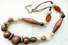 LONG CHUNKY NECKLACE_GIANT WOODEN BEADS & AMBER, BROWN, GOLD & SILVER BEADS_NEW