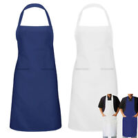 Men Women Chef Apron Catering Cooking Kitchen Butcher Bib With Pocket BBQ