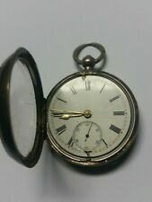 POCKET WATCH ANTIQUE SOLID SILVER FUSEE  50 MM LONDON 1889 NOT WORKING