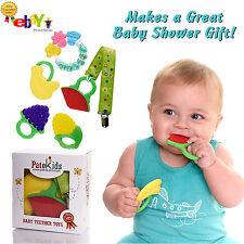 Baby Teething Chew Toy Set, 100% Safe Food Grade Silicone + 2 FREE BONUSES!