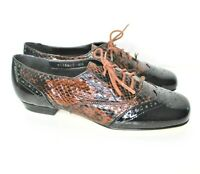 Ros Hommerson Brogue Wing Tip Crocodile Print Womens Size 6 Narrow Oxford Shoes