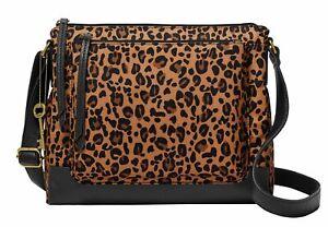 FOSSIL Jenna Crossbody Bag Umhängetasche Tasche Cheetah Braun Neu