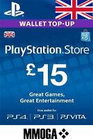 £15 Pounds PlayStation Network - 15 GBP PSN Store Card Key PS4 PS3 PS Vita - UK