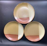 "3 Sango Gold Dust Sienna 8""  Salad Bread Dessert Plate 5039 Earthy Geometric"