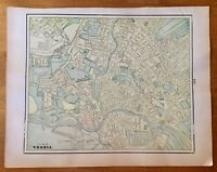 Antique City Map of Vienna verso Genoa/Athens Gallery Wall Art atlas page 1906