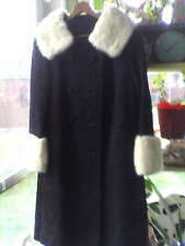 Persian Lamb Fur Coat with White Mink Collar and cuffs Vintage 1950's